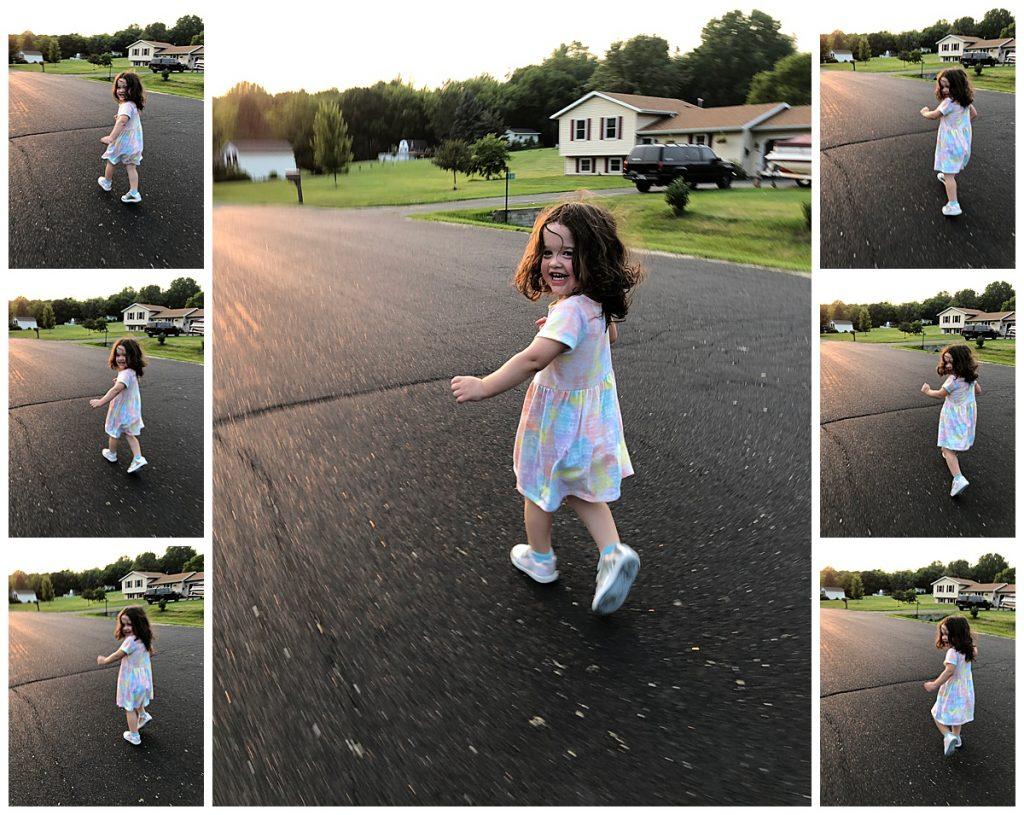 A burst mode compilation of a toddler girl running.