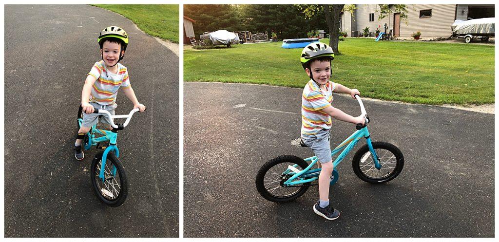 A kid on a bike in portrait orientation vs landscape orientation.