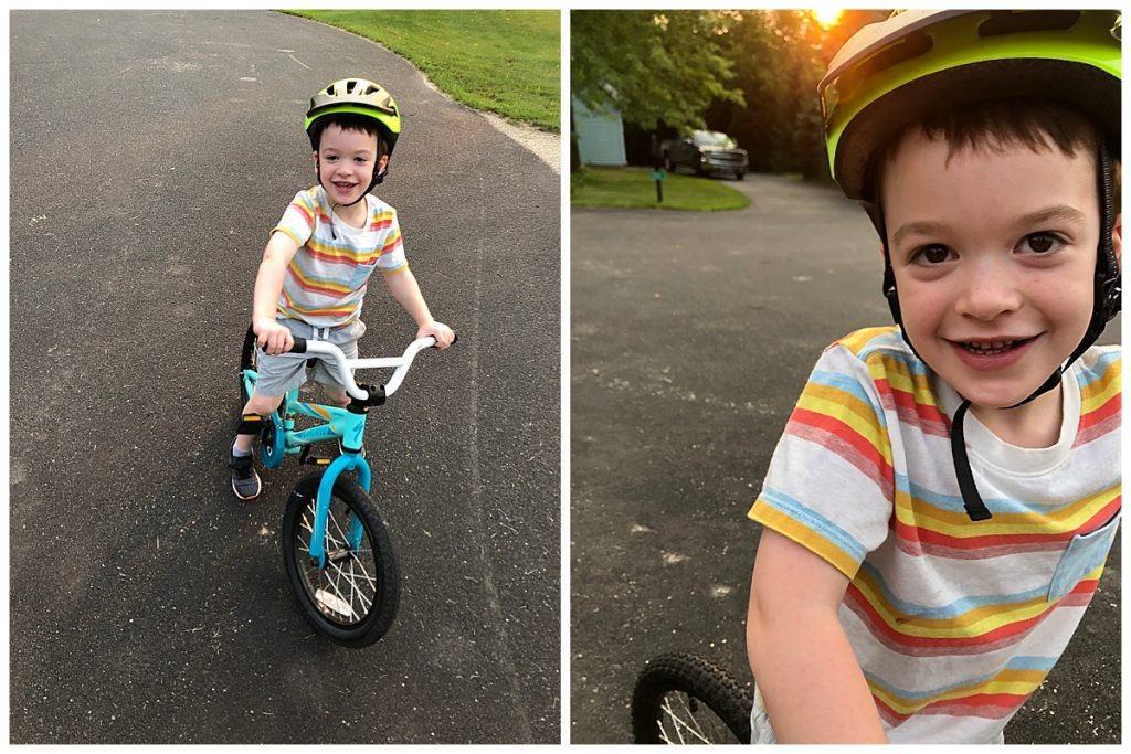 A kid on a bike from a higher adult eye level vs from the kid's eye level.